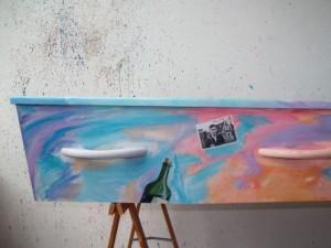 uitvaartkist beschilderd door Geert Schreuder