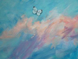 detail van een vlinder, geschilderd door Geert Schreuder